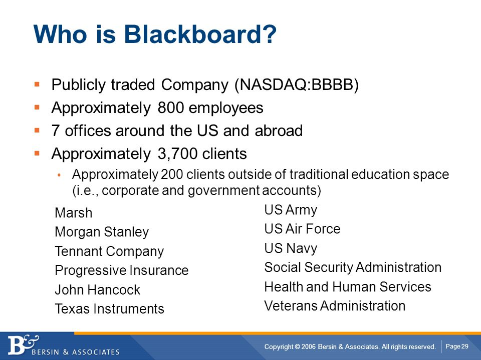 Who is Blackboard Publicly traded Company (NASDAQ:BBBB)
