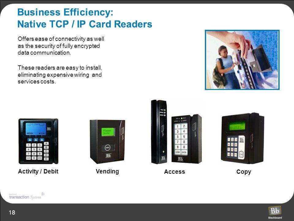 Business Efficiency: Native TCP / IP Card Readers