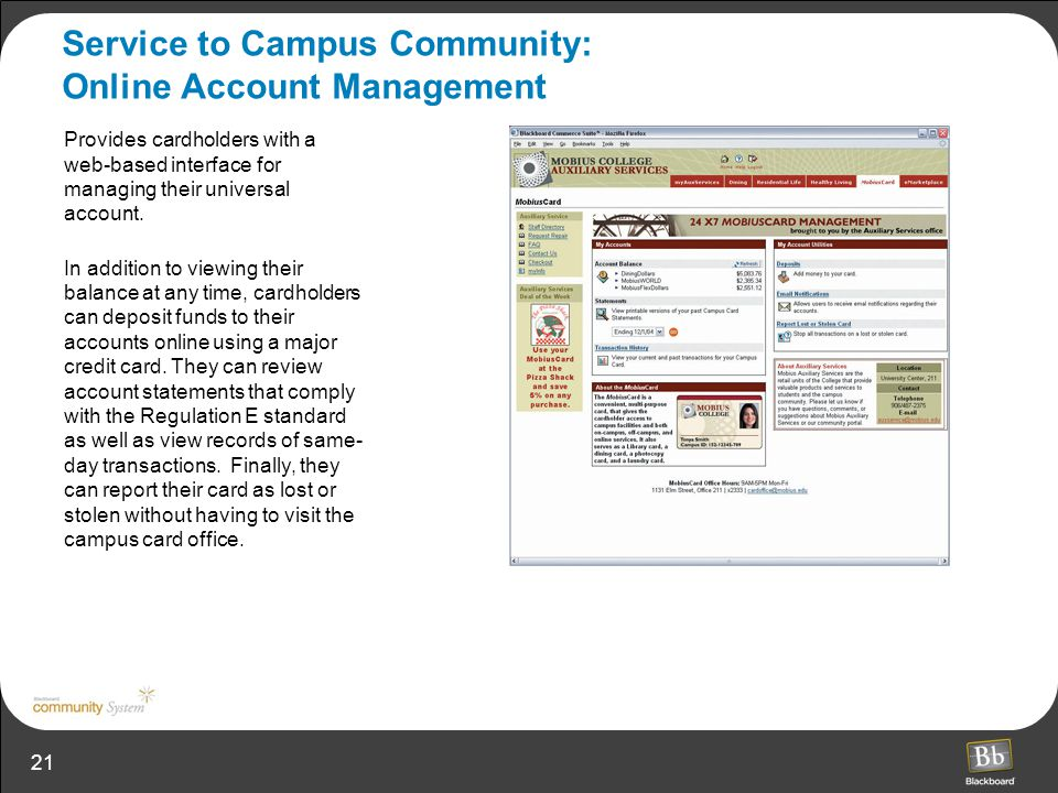 Service to Campus Community: Online Account Management