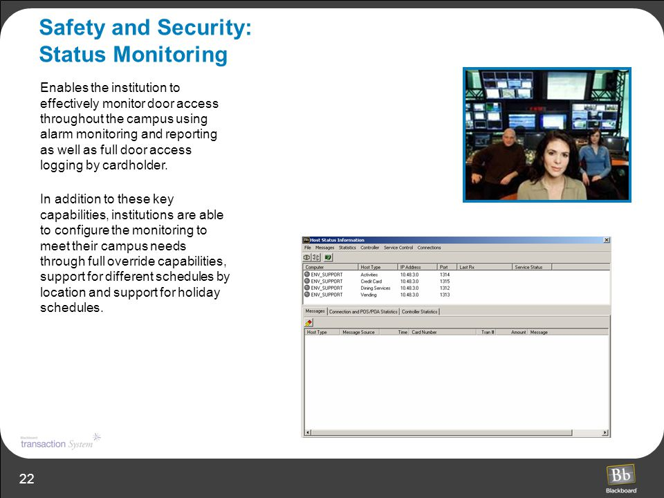 Safety and Security: Status Monitoring