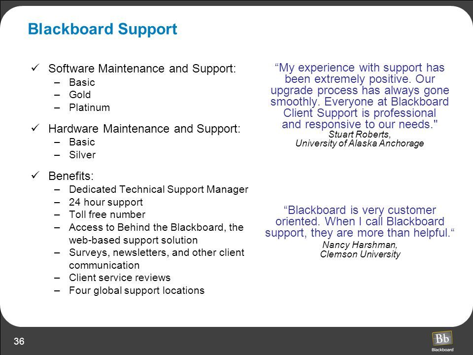 Blackboard Support Software Maintenance and Support: