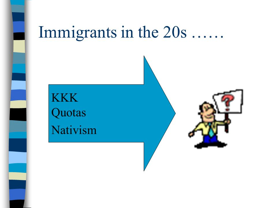 Immigrants in the 20s …… KKK Quotas Nativism
