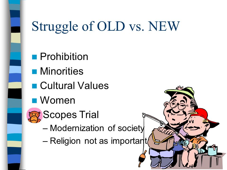 Struggle of OLD vs. NEW Prohibition Minorities Cultural Values Women