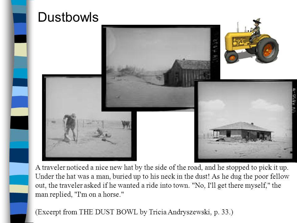 DustbowlsA traveler noticed a nice new hat by the side of the road, and he stopped to pick it up.