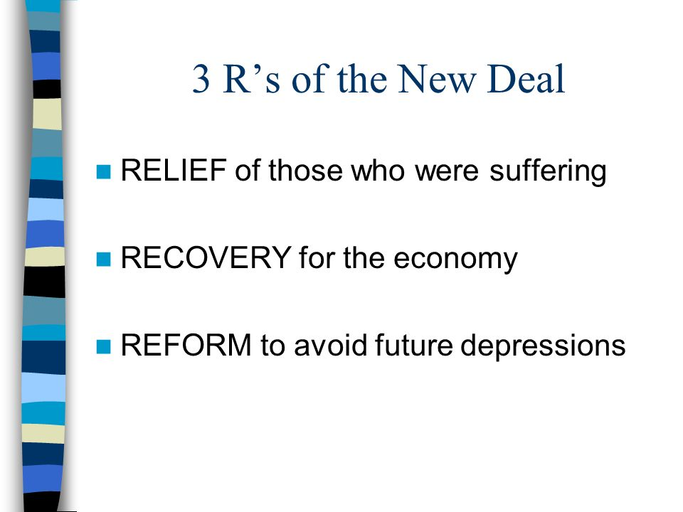 3 R's of the New Deal RELIEF of those who were suffering