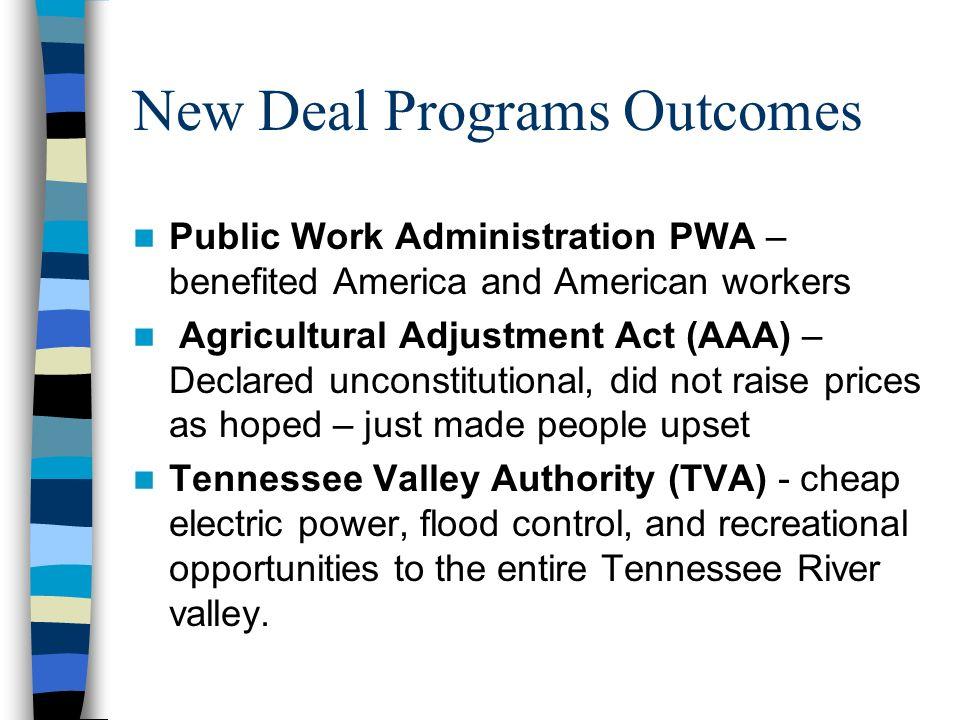 New Deal Programs Outcomes
