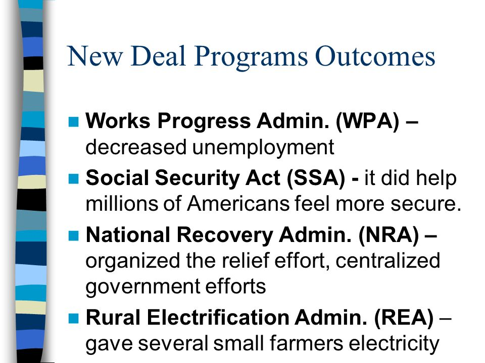 New Deal Programs Outcomes