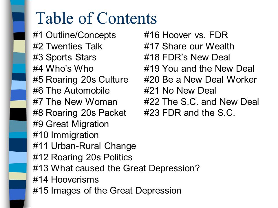 Table of Contents #1 Outline/Concepts #16 Hoover vs. FDR