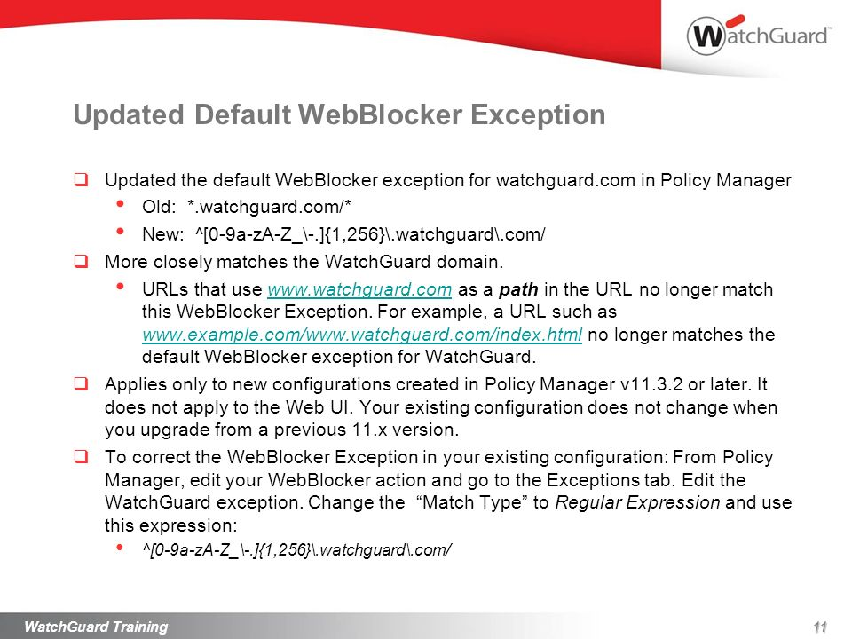 Updated Default WebBlocker Exception