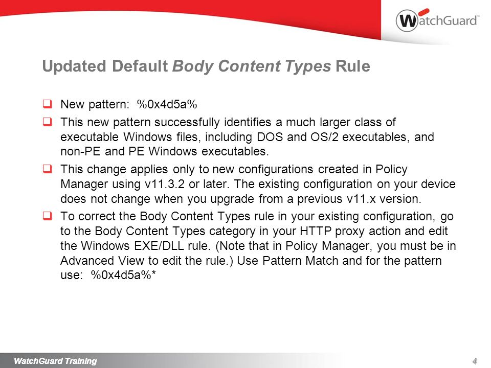 Updated Default Body Content Types Rule