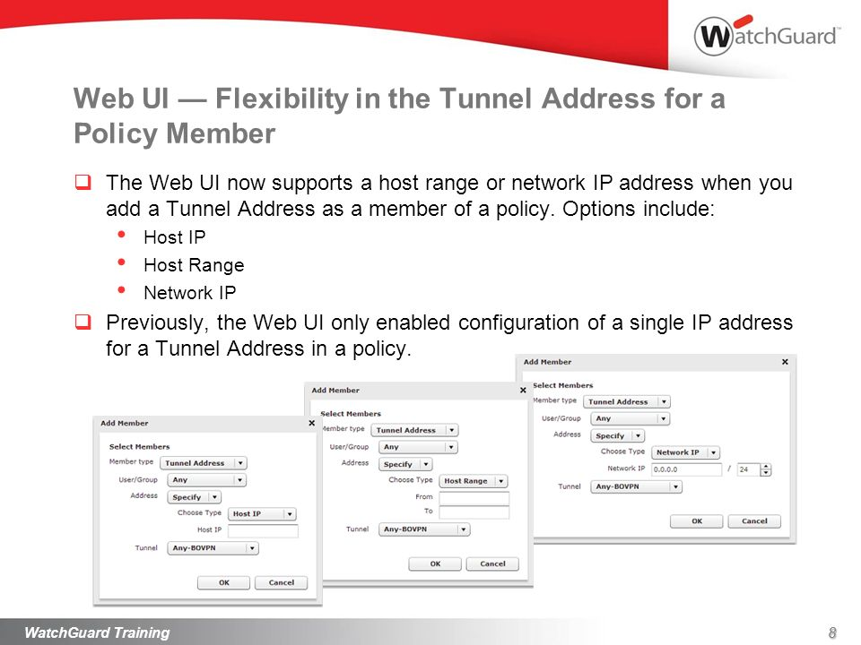 Web UI — Flexibility in the Tunnel Address for a Policy Member