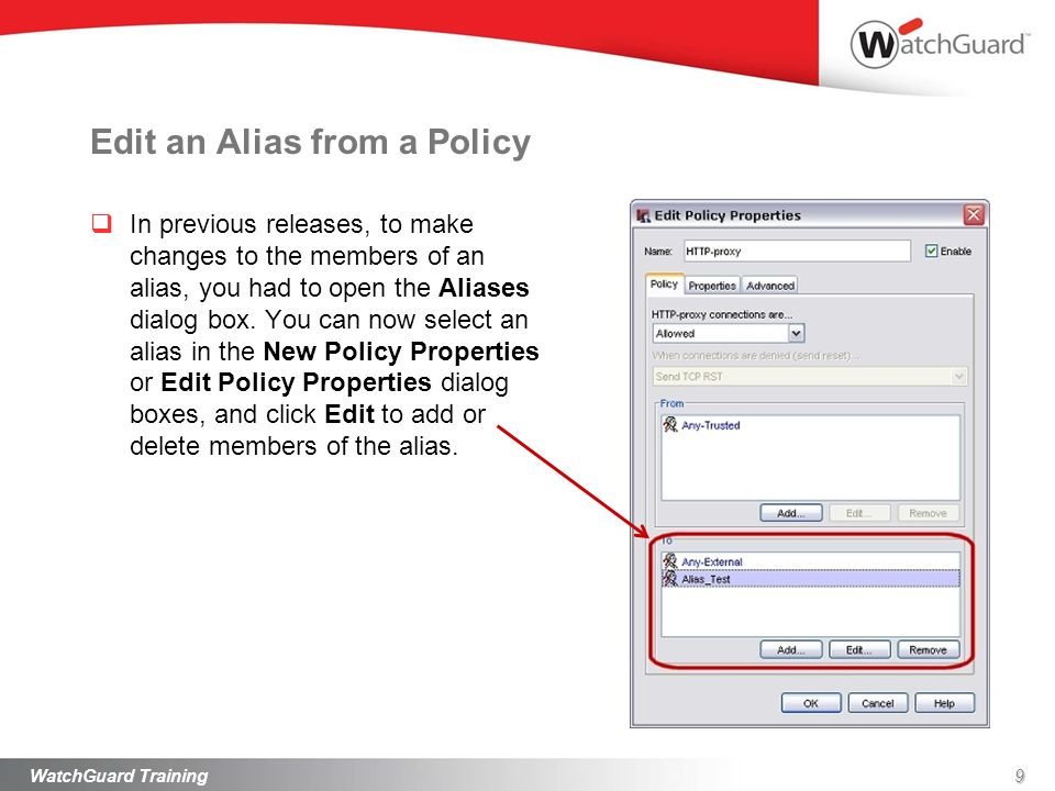 Edit an Alias from a Policy