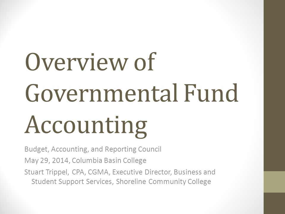 Overview of Governmental Fund Accounting