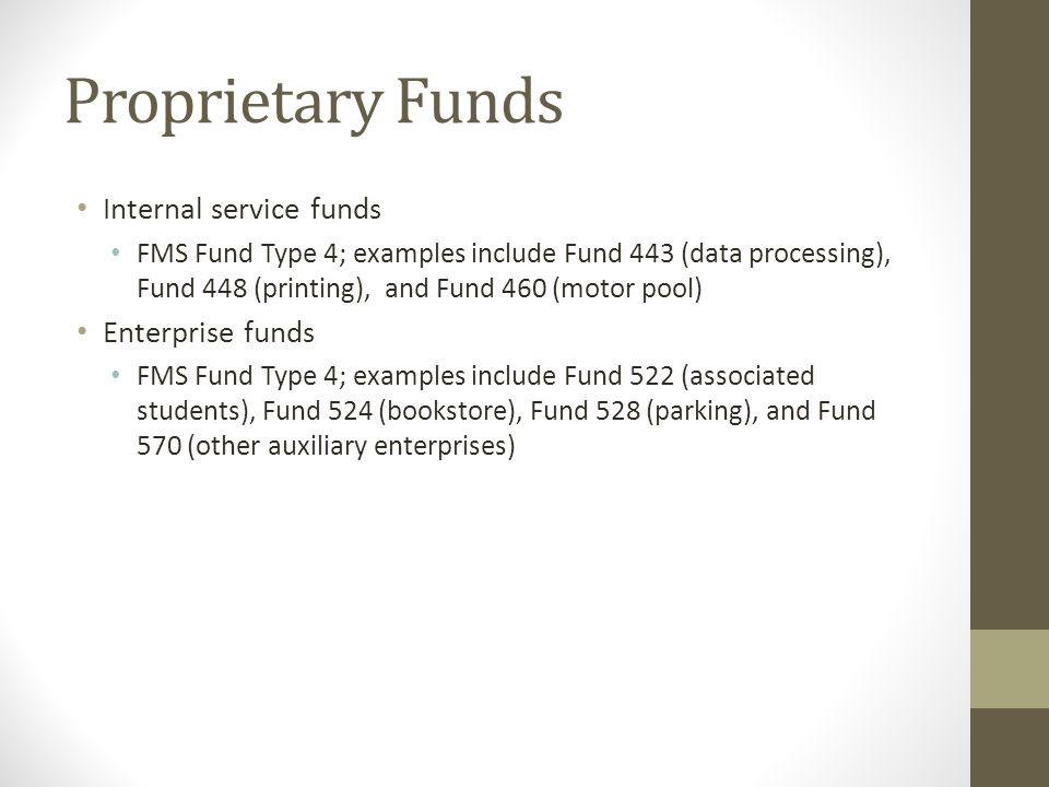 Proprietary Funds Internal service funds Enterprise funds