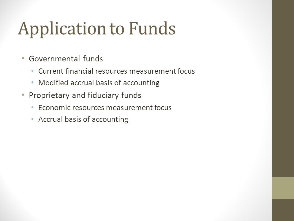 Application to Funds Governmental funds