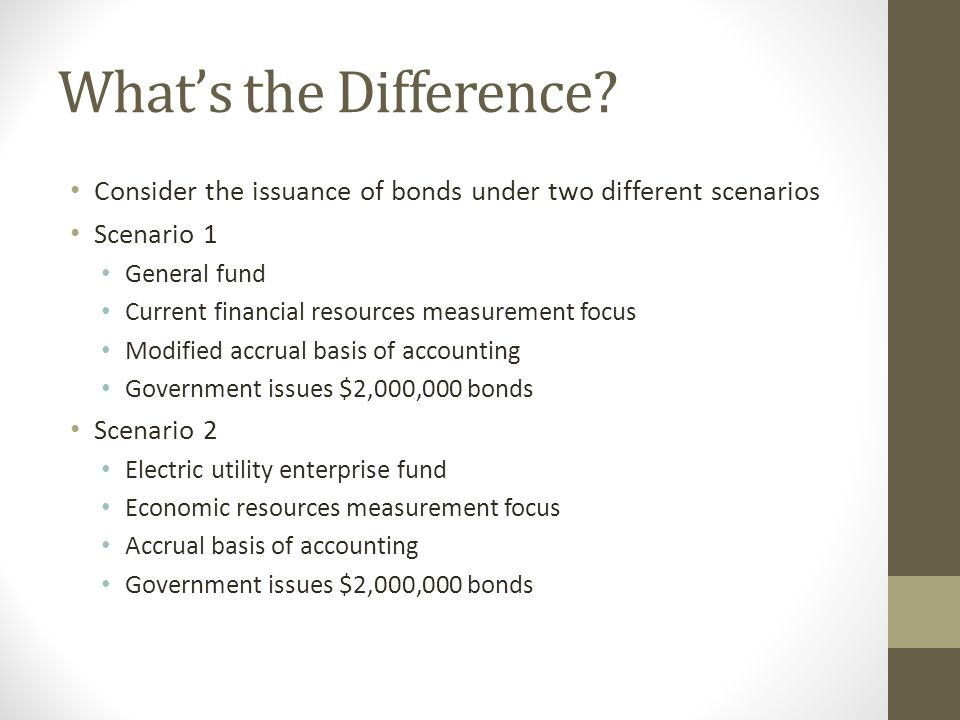 What's the Difference Consider the issuance of bonds under two different scenarios. Scenario 1. General fund.
