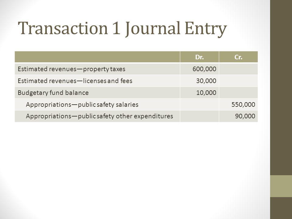 Transaction 1 Journal Entry