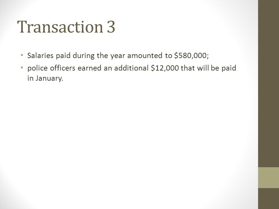 Transaction 3 Salaries paid during the year amounted to $580,000;
