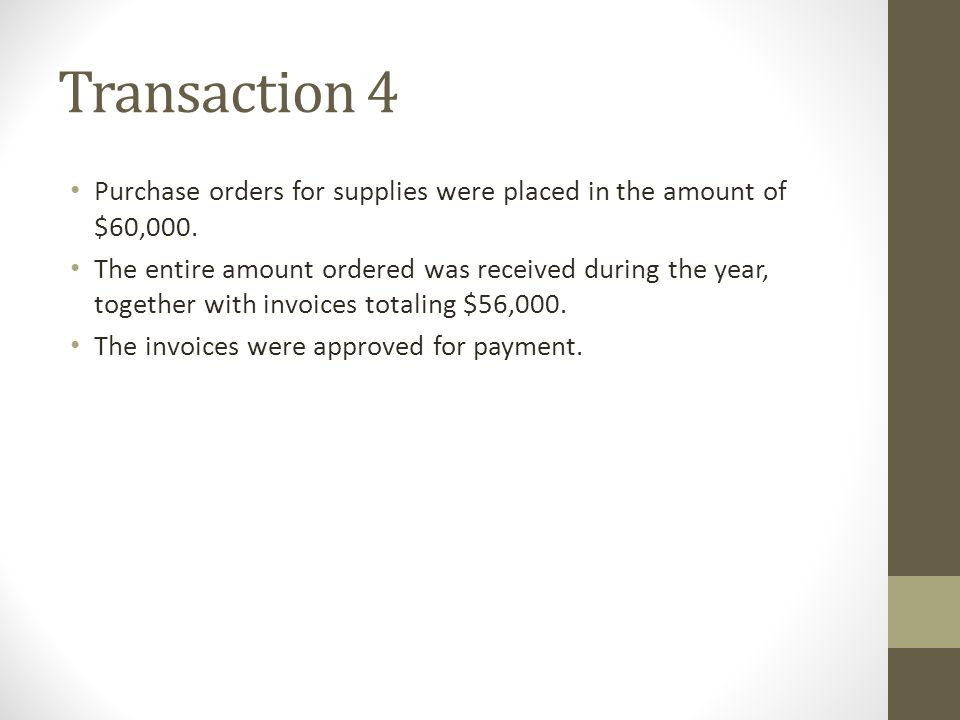 Transaction 4 Purchase orders for supplies were placed in the amount of $60,000.