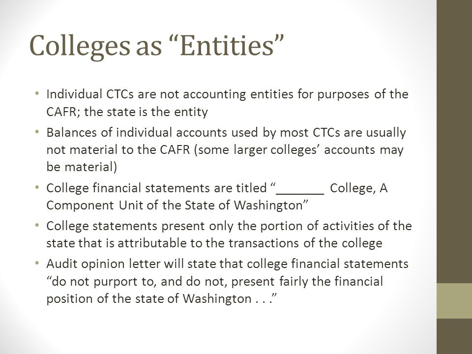 Colleges as Entities