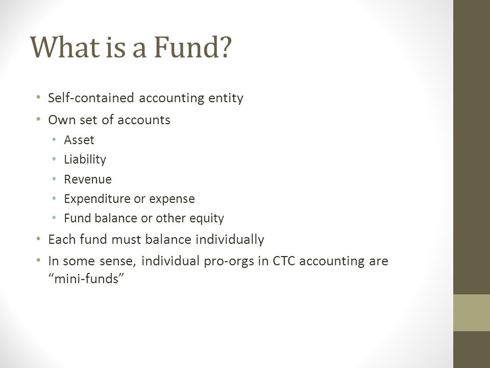 What is a Fund Self-contained accounting entity Own set of accounts