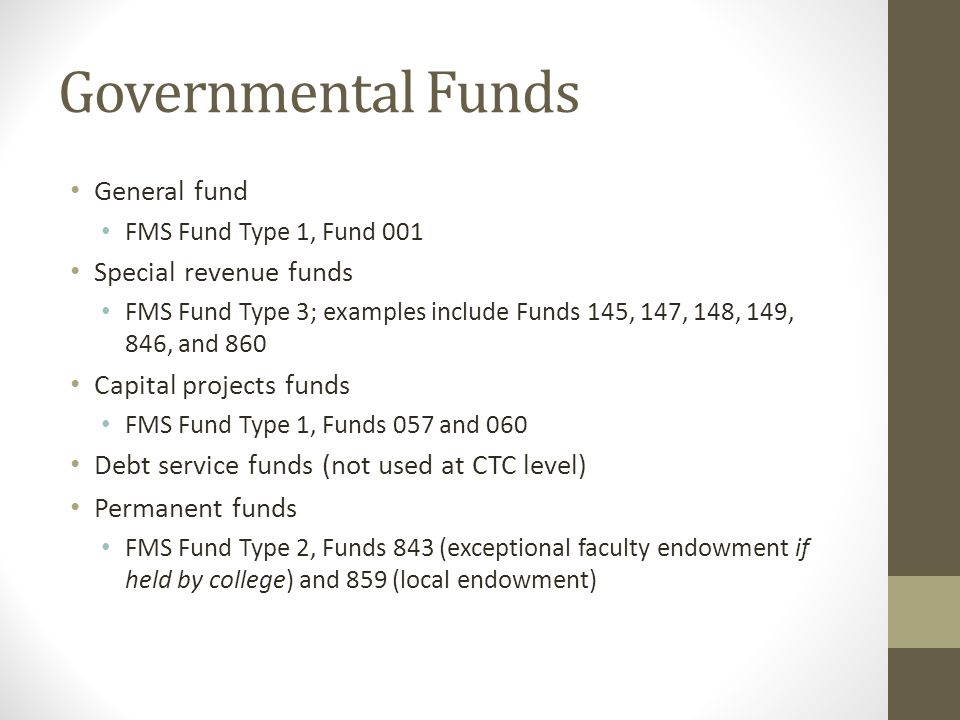 Governmental Funds General fund Special revenue funds