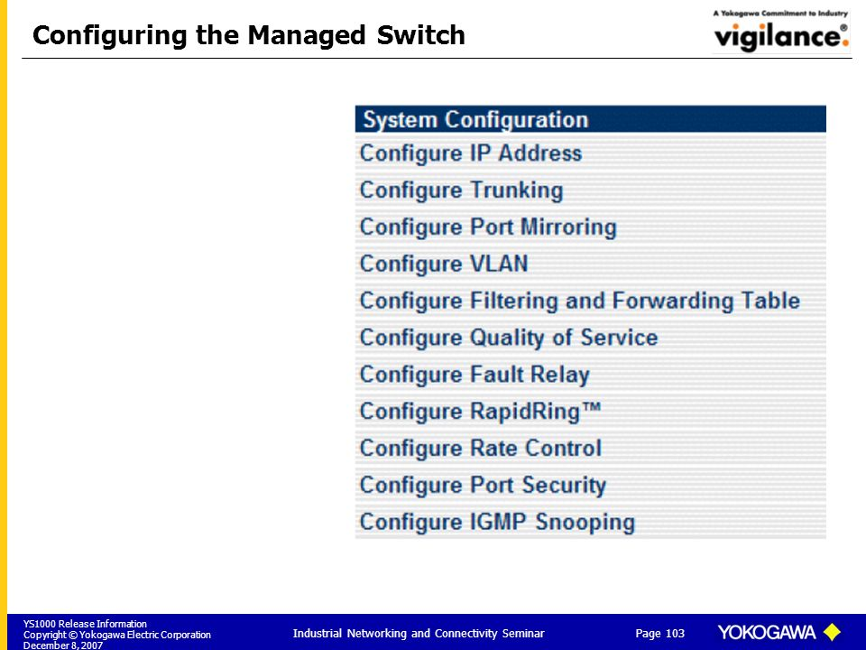 Configuring the Managed Switch