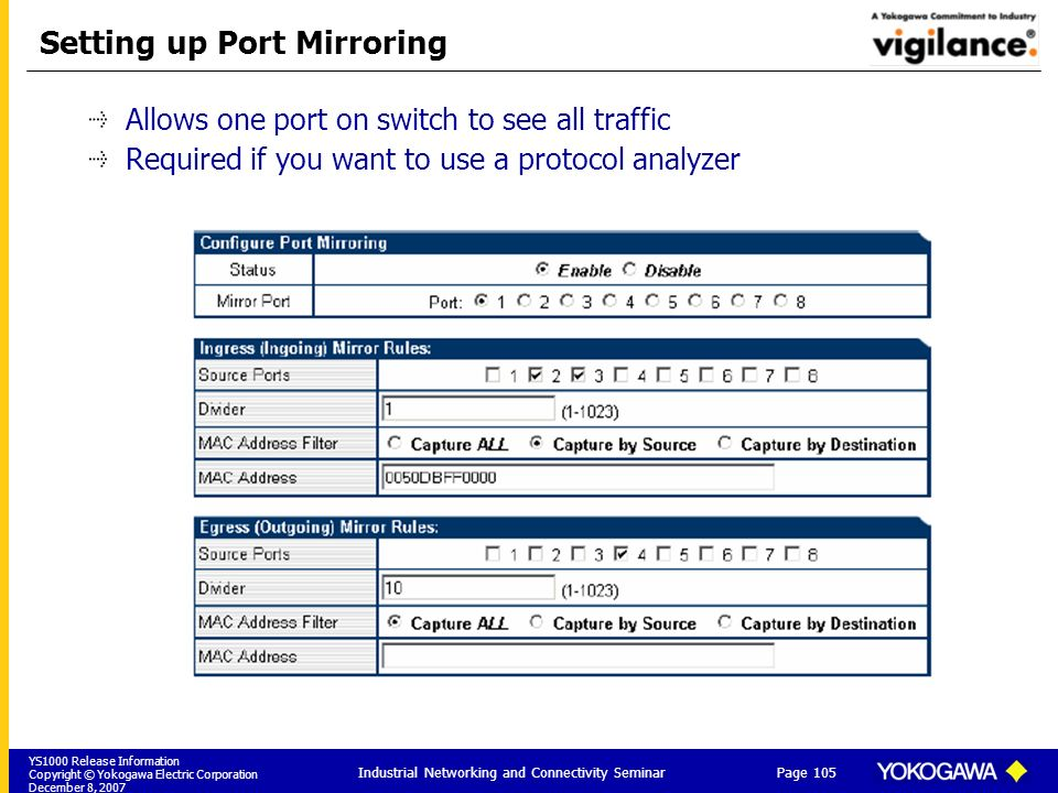 Setting up Port Mirroring