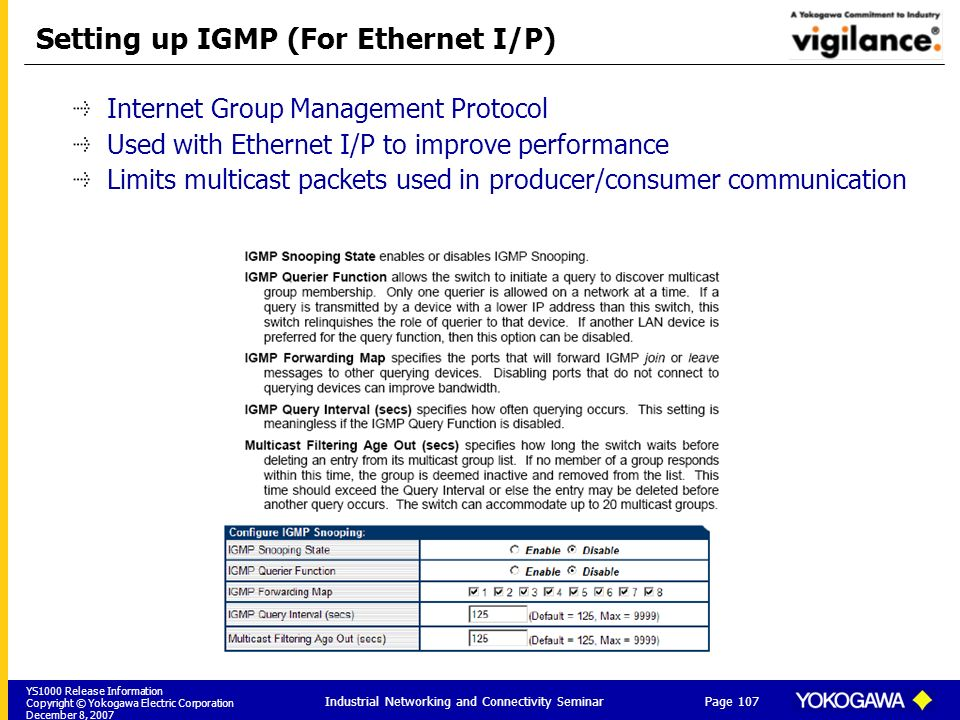 Setting up IGMP (For Ethernet I/P)