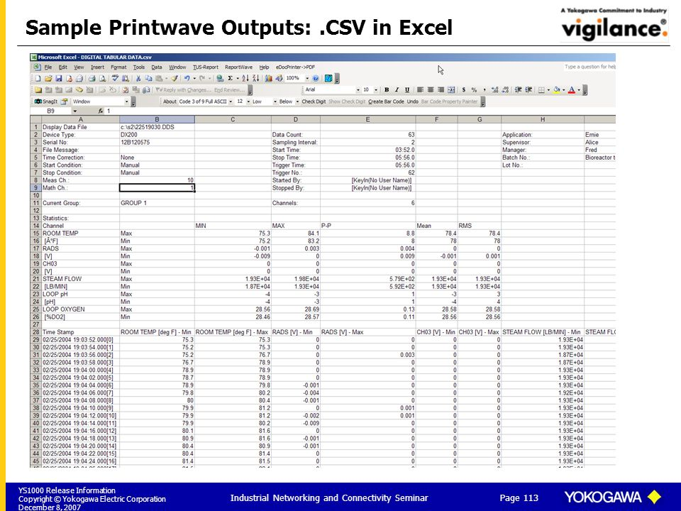 Sample Printwave Outputs: .CSV in Excel