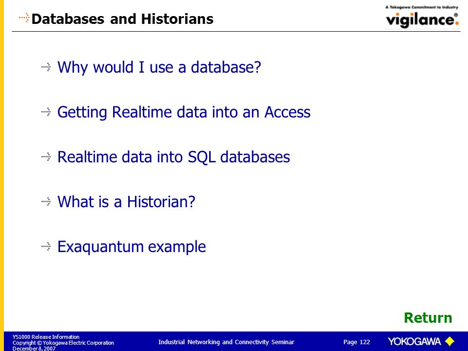 Databases and Historians