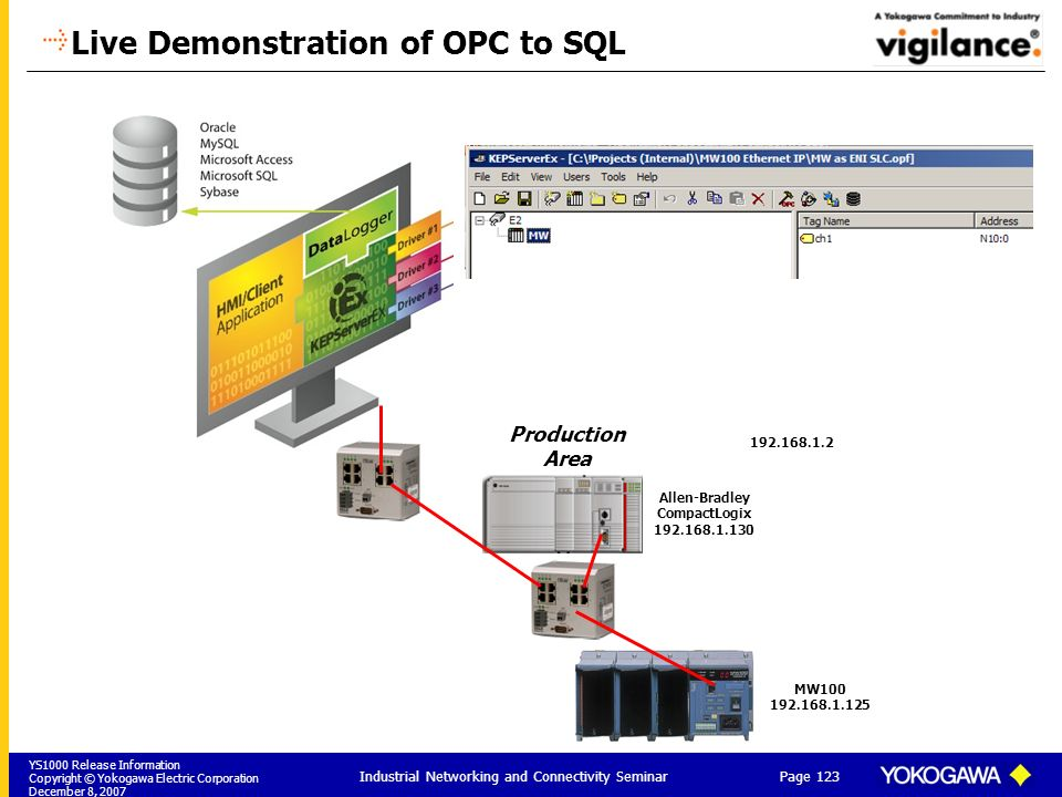 Live Demonstration of OPC to SQL