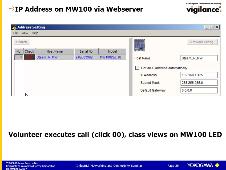 IP Address on MW100 via Webserver