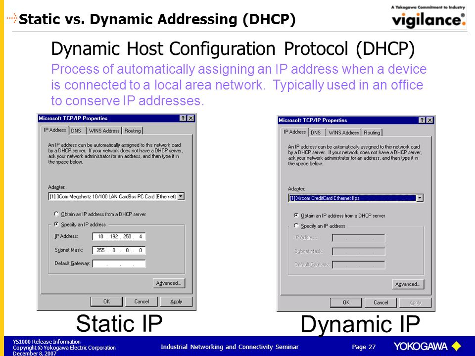 Static vs. Dynamic Addressing (DHCP)
