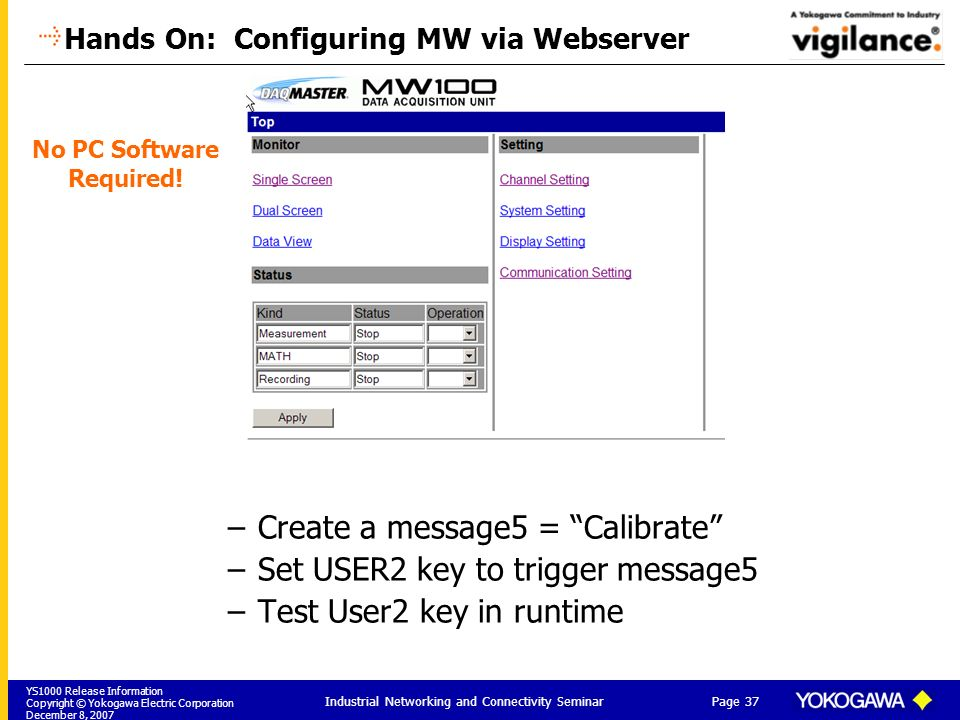 Hands On: Configuring MW via Webserver