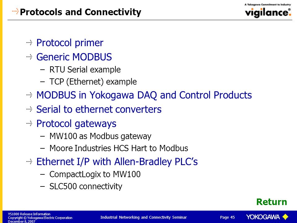 Protocols and Connectivity