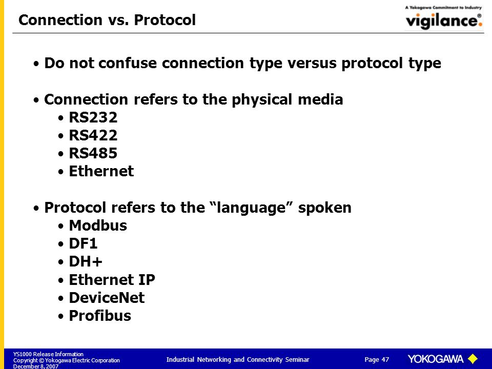 Connection vs. Protocol