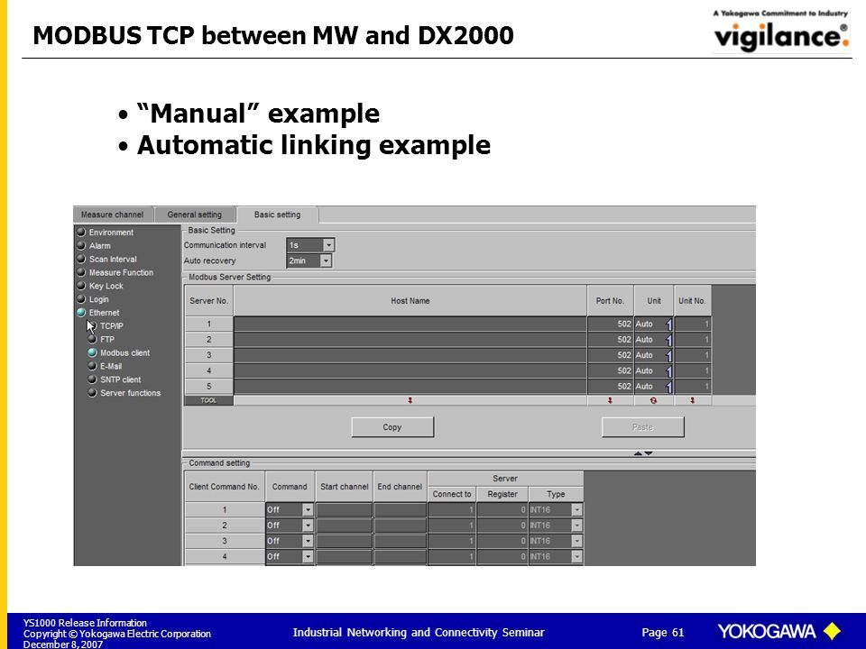 MODBUS TCP between MW and DX2000