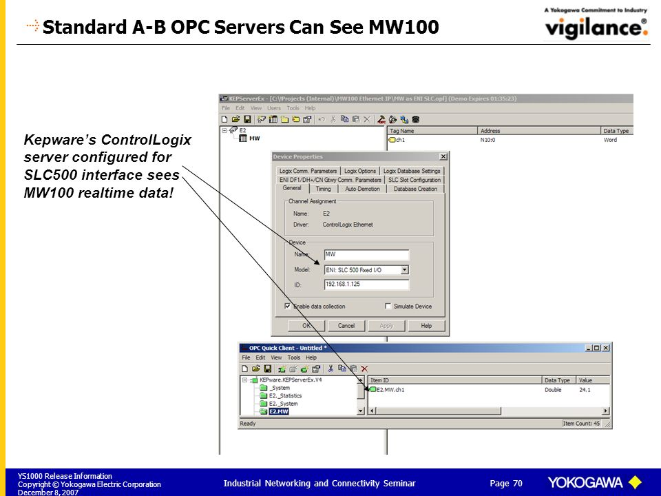 Standard A-B OPC Servers Can See MW100