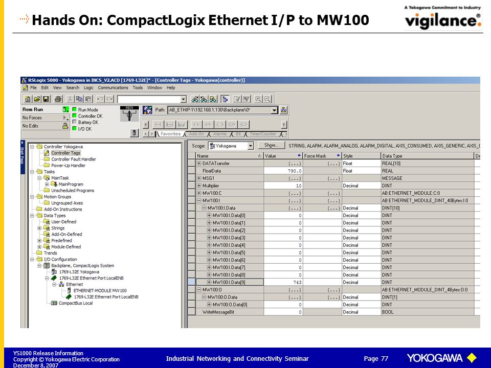 Hands On: CompactLogix Ethernet I/P to MW100