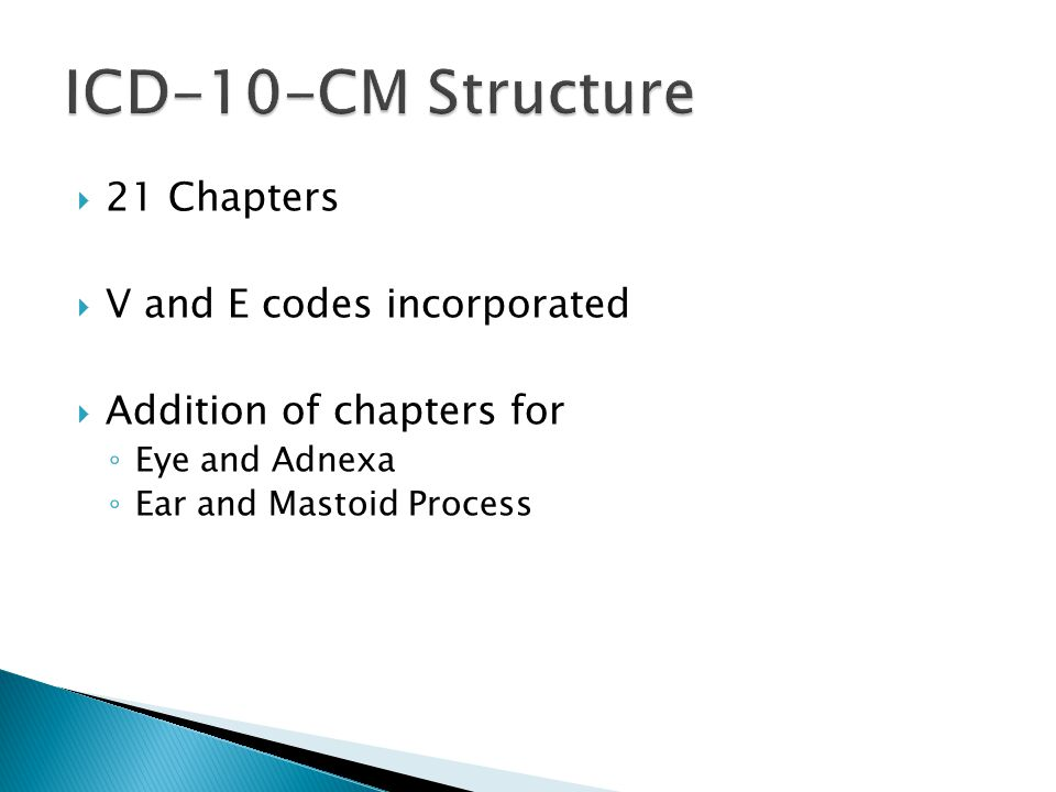 ICD-10-CM Structure 21 Chapters V and E codes incorporated