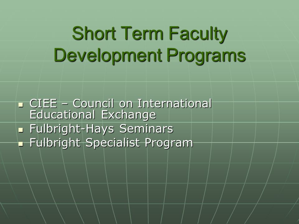 Short Term Faculty Development Programs