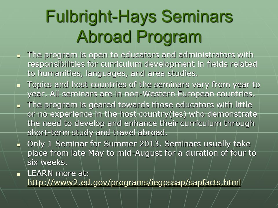 Fulbright-Hays Seminars Abroad Program