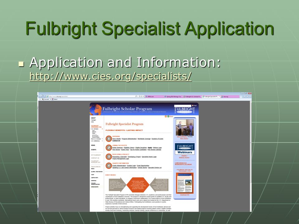 Fulbright Specialist Application
