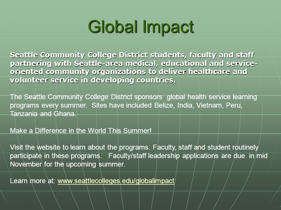 Global Impact Seattle Community College District students, faculty and staff.
