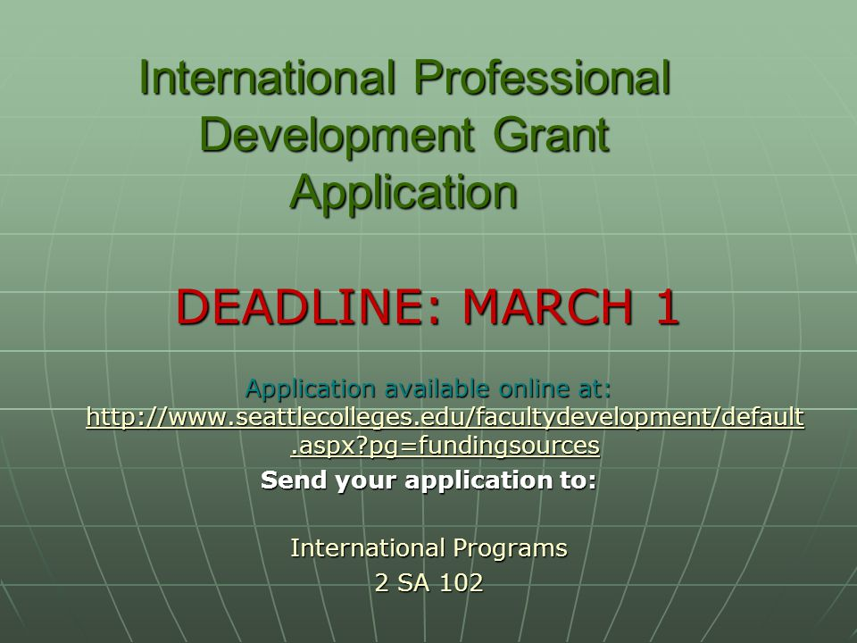 International Professional Development Grant Application