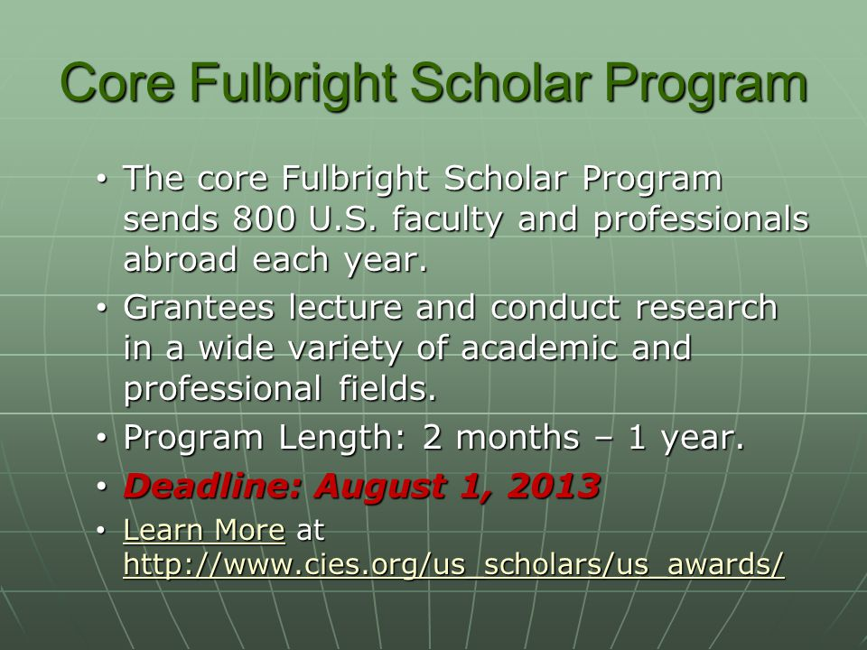 Core Fulbright Scholar Program