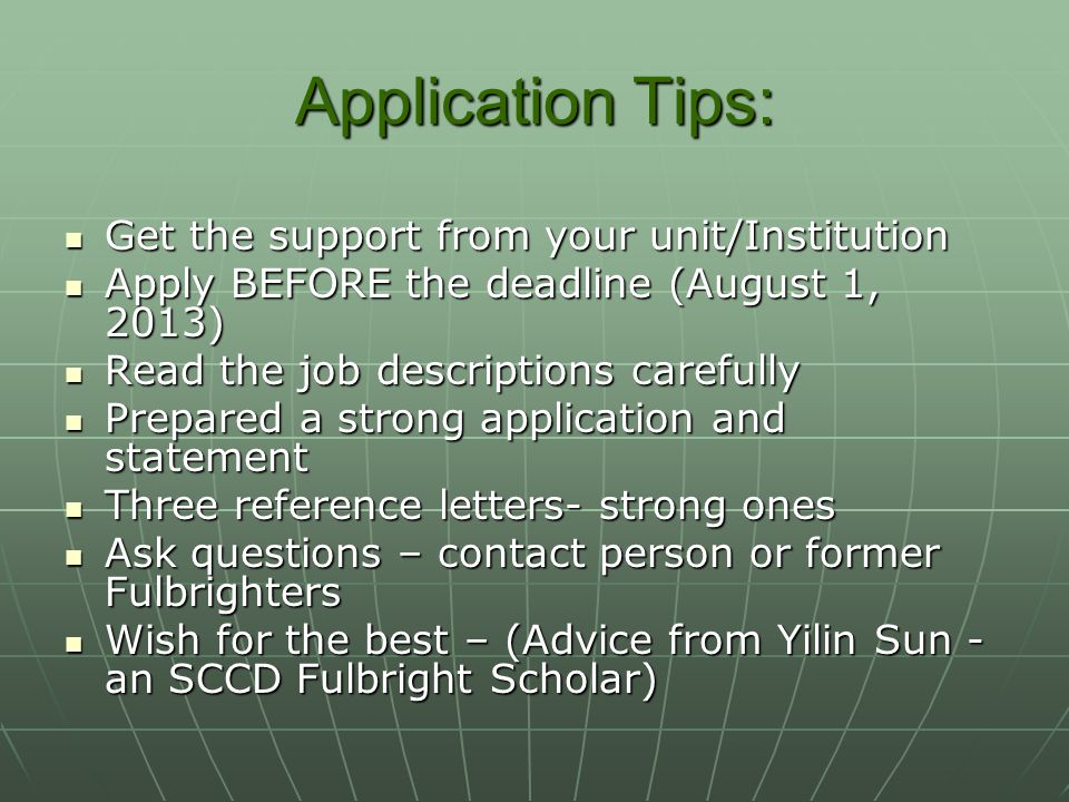 Application Tips: Get the support from your unit/Institution