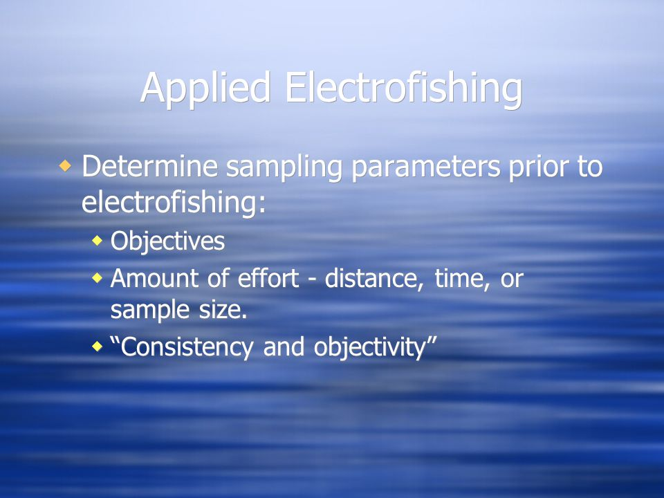 Applied Electrofishing
