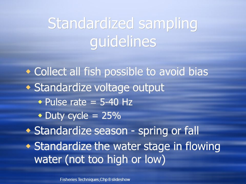 Standardized sampling guidelines